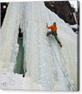 Ice Climbing Mummy II In Haylite Canyon Near Bozeman Acrylic Print