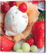 Ice Cream And Strawberries Acrylic Print