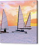 Ice Sailing On The Gouwzee In The Countryside From The Netherlan Acrylic Print