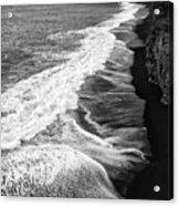 Iceland Coast Dyrholaey Black And White Acrylic Print