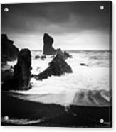 Iceland Dritvik beach and cliffs dramatic black and white Acrylic Print