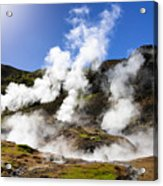 Iceland Geothermal Area With Steam From Hot Springs Acrylic Print