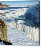 Iceland Gullfoss Waterfall In Winter With Snow Acrylic Print