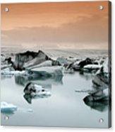 Iceland, Jokulsarlon Glacial Lagoon , Icebergs Melting Acrylic Print
