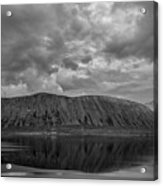 Iceland Mountain Reflections Bw Acrylic Print