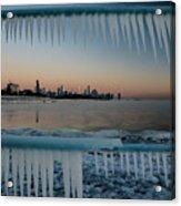 Icicles And Chicago Skyline Acrylic Print