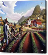 Id Rather Be Farming - Appalachian Farmer Cultivating Peas - Farm Landscape 2 Acrylic Print
