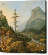 Idealized River Landscape With A Hunting Party Acrylic Print
