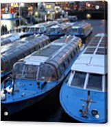Idle Tour Boats -- Amsterdam In November Acrylic Print