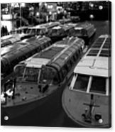 Idle Tour Boats -- Amsterdam In Winter Bw Acrylic Print