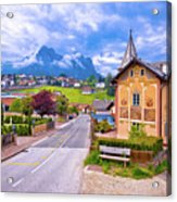 Idyllic Alpine Town Of Kastelruth Architecture And Mountains Vie Acrylic Print