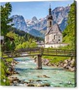 Idyllic Church In The Alps Acrylic Print