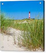 Idyllic Dunes And Lighthouse At North Sea Acrylic Print