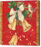 Illustrated Holly, Bells With Birdie Acrylic Print