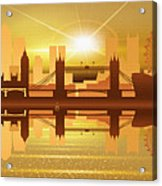 Illustration Of City Skyline - London  Sunset Panorama Acrylic Print