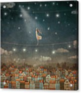 Illustration Of  Cute Houses And  Pretty Girl   In Night Sky Acrylic Print