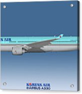 Illustration Of Korean Air Airbus A330-300 - Blue Version Acrylic Print