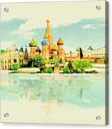 Illustration Of Moscow In Watercolour Acrylic Print