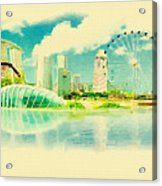 Illustration Of Singapore In Watercolour Acrylic Print