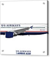 Illustration Of Us Airways Airbus A320 Acrylic Print