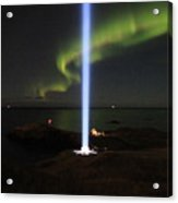Imagine Tower Of John Lennon In Iceland Acrylic Print by Andres Zoran Ivanovic