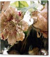 Impressionistic Green Peach Coral Floral Prints - Romantic Watercolor Peach Green Floral Decor Acrylic Print