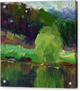 Impressionistic Oil Landscape Lake Painting Acrylic Print by Svetlana Novikova