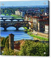 Impressions Of Florence - Long Blue Shadows On The Arno River Acrylic Print