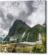Impressive Weather Conditions At Milford Sound Acrylic Print