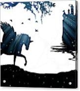 In A Dream, Unicorn, Pegasus And Castle Modern Minimalist Style Acrylic Print