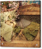 In A Rose Garden Acrylic Print by Sir Lawrence Alma-Tadema