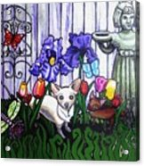 In The Chihuahua Garden Of Good And Evil Acrylic Print by Genevieve Esson