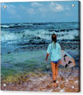 In The Hope Of A Big Wave Acrylic Print
