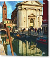 In The Waters Of The Many Venetian Canals Reflected The Majestic Cathedrals, Towers And Bridges Acrylic Print