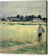 In The Wheatfield At Gennevilliers Acrylic Print by Berthe Morisot