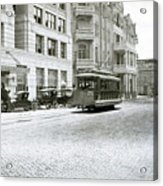 In This 1913 Photo, A Cable Car Drives Past The Littlefield Building And Dristill Hotel On Sixth Str Acrylic Print