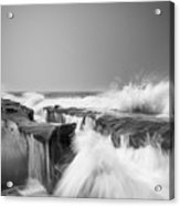 Incoming  La Jolla Rock Formations Black And White Acrylic Print