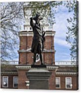 Independence Hall And Commodore Barry Acrylic Print