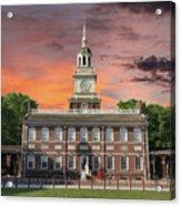 Independence Hall Philadelphia Sunset Acrylic Print