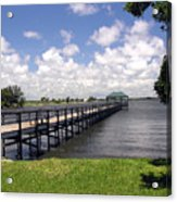 Indialantic Pier On The Indian River Lagoon In Central Florida Acrylic Print