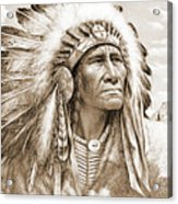 Indian Chief With Headdress Acrylic Print