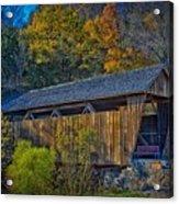 Indian Creek Covered Bridge In Fall Acrylic Print