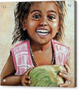 Indian Girl From The Slums Acrylic Print by Mary Susanna Turcotte