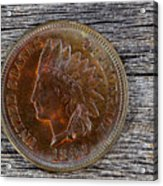 Indian Head Cent In Uncirculated Condition On Old Wood  Acrylic Print