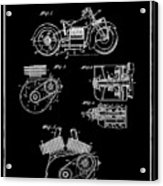 Indian Motorcycle Patent 1943 Black Acrylic Print