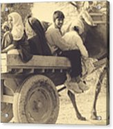 Indian People In Camel Cart- Sepia Acrylic Print
