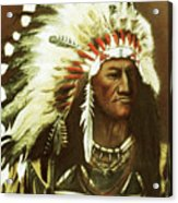 Indian With Headdress Acrylic Print by Martin Howard