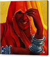 Indian Woman In Veil Acrylic Print