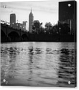 Indianapolis On The Water - Black And White Skyline Acrylic Print