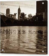 Indianapolis On The Water - Sepia Skyline Acrylic Print
